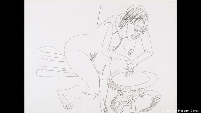 Bundeskunsthalle Bonn | Ausstellung Ernst Ludwig Kichner - Erträumte Reisen | Akt mit afrikanischem Hocker (Kirchner Museum Davos )