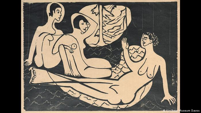 Drei nackte Frauen sitzen auf dem Waldboden (Kirchner Museum Davos)