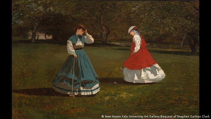Zwei Frauen beim Krocketspiel um 1866 (New Haven,Yale University Art Gallery,Bequest of Stephen Carlton Clark)