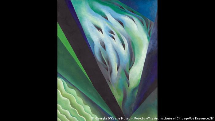 Senkrecht verlaufende blau-grüne Wellen (Georgia O'Keeffe Museum,Foto:bpk/The Art Institute of Chicago/Art Resource,NY)