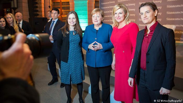 Iceland's Prime Minister Katrin Jakobsdottir, German Chancellor Angela Merkel, Croatian President Koolinda Grabar-Kitarovic and Serbian Prime Minister Ana Brnabic