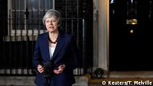 Britain's Prime Minister Theresa May makes a statement outside 10 Downing Street