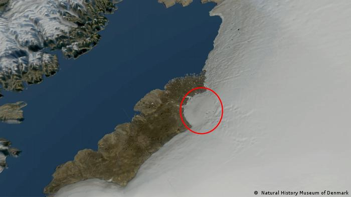 The site of the crater in Inglefield Land, Greenland