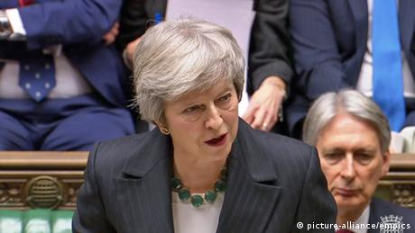 Premierministerin Theresa May hält eine Rede im House of Commons, London.