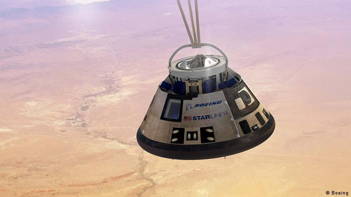 Graphic of the CST-100 Starliner, a capsule for human spaceflight, which is in development at Boeing (Boeing)
