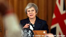 Britain's Prime Minister Theresa May gives a press conference inside 10 Downing Street in central London on November 15, 2018. - British Prime Minister Theresa May battled against a rebellion over her draft Brexit deal on Thursday, as ministers resigned and members of her own party plotted to oust her. (Photo by Matt Dunham / POOL / AFP) (Photo credit should read MATT DUNHAM/AFP/Getty Images)