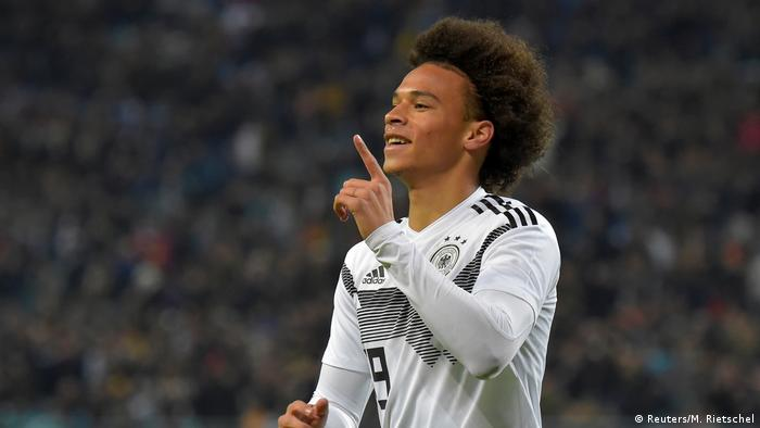Leroy Sané pictured playing for the German national team. Image Credit: Reuters/M. Rietschel