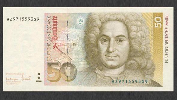 Портрет Бальтазара Неймана на купюре в 50 немецких марок