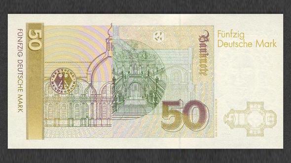 Изображение Вюрцбургской резиденции и парадной лестницы на купюре в 50 немецких марок