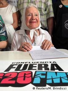 Human rights activist Nora Cortinaz attends the Confluencia Fuera G20 press conference in Buenos Aires
