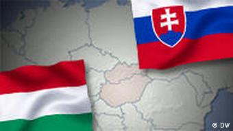 Slovakian and Hungarian flags over a map showing the countries in red