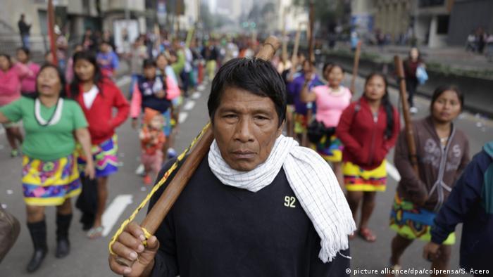 Kolumbien Protest für bessere Bildung in Bogotá
