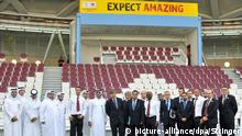 Sheik Mohammed bin Hamad bin Khalifa Al Thani, chairman of the Qatar 2022 Bid (8thL) FIFA inspection chief Harold Mayne-Nicholls (9th L) with other officials pose for photographers during the FIFA 2022 World Cup bid inspection tour in Doha, Qatar, 14 September 2010. A FIFA inspection team arrived in Qatar to tour facilities for the country's 2022 World Cup bid. Qatar officials told 2022 World Cup inspectors that the country has the technology to cool stadiums and would establish zones where alcohol could be served to international fans. EPA/STRINGER |