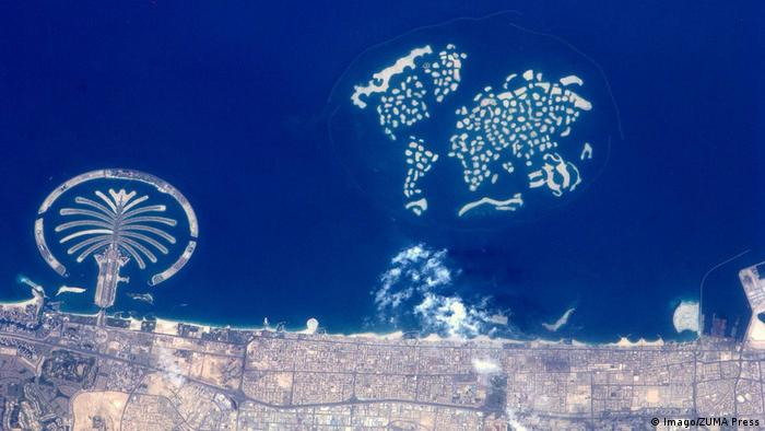 Artificial islands in Dubai seen from space