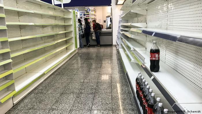 Empty supermarket shelves in Caracas, Venezuela