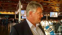 Jörg Meuthen speaking into a DW microphone (DW/T. Sparrow)