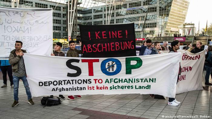 Protesters demonstrating against deportation flights to Afghanistan