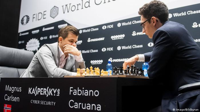 Magnus Carlsen (left) and Fabiano Caruana are locked at 4-4 after eight games