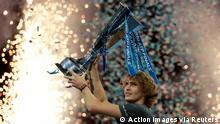 Tennis - ATP Finals - The O2, London, Britain - November 18, 2018 Germany's Alexander Zverev celebrates with the trophy after winning the final against Serbia's Novak Djokovic Action Images via Reuters/Andrew Couldridge
