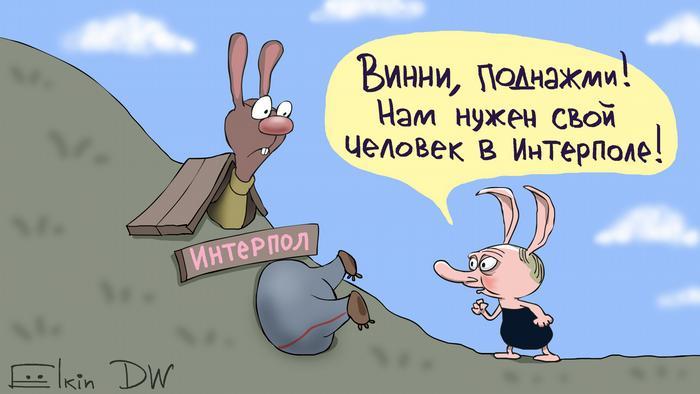 Карикатура - сценка из мультфильма про Винни Пуха: поросенок с лицом Путина говорит Винни Пуху в полицейских штанах, застрявшему в норе кролика: Вини, поднажми! Нам нужен свой человек в Интерполе!