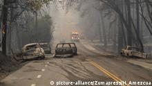 November 8, 2018 - California, U.S. - Abandoned vehicles that were burned as residents of Paradise scrambled to escape the Camp Fire are stranded on Pearson Road in Paradise on Thursday, Nov. 8, 2018 |