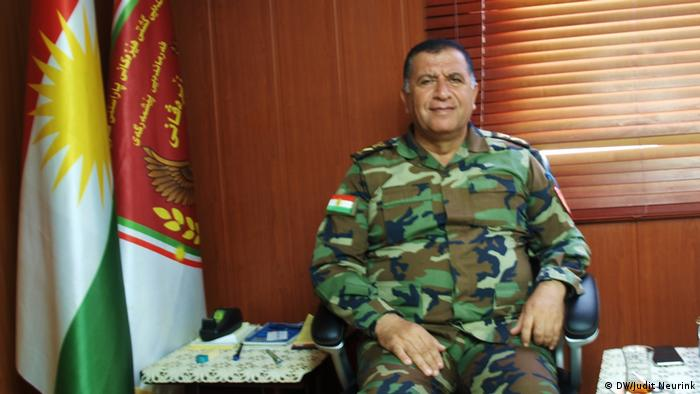 A Kurdish general in his office in Irbil