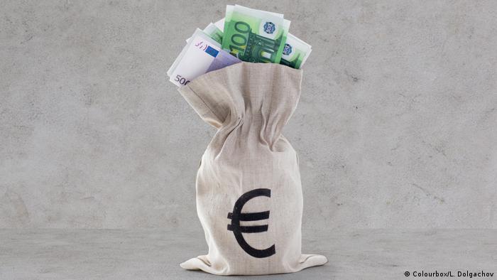 Euro paper money in bank bag