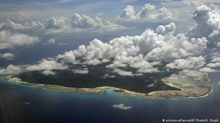 An aerial view of North Sentinel Island, in India's southeastern Andaman and Nicobar Islands