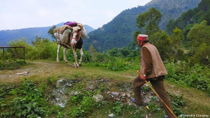 Weidewirtschaft im Himalaya: Ein Hirte läuft zu einem beladenen Pferd. Sein Pferd steht im Hintergrund.