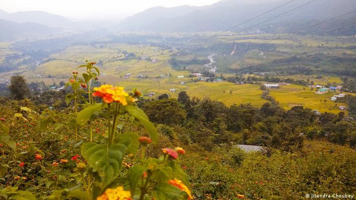 Ein weiter Blick über eine Berg- und Weidelandschaft im Himalaya. Weideland wird von Unkraut, Landwirtschaft und teilweise von Nadelwäldern verdrängt, in denen kein Gras wächst.