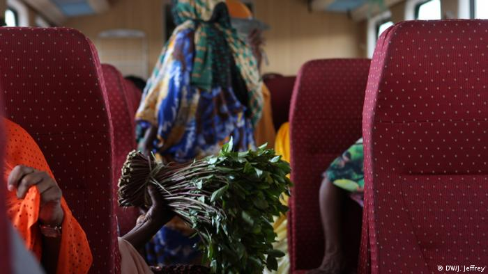 Scene inside the Ethiopian Djibouti Railway Train showing Khat (DW/J. Jeffrey)