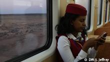A train conductor inside the Ethiopian Djibouti Railway Train