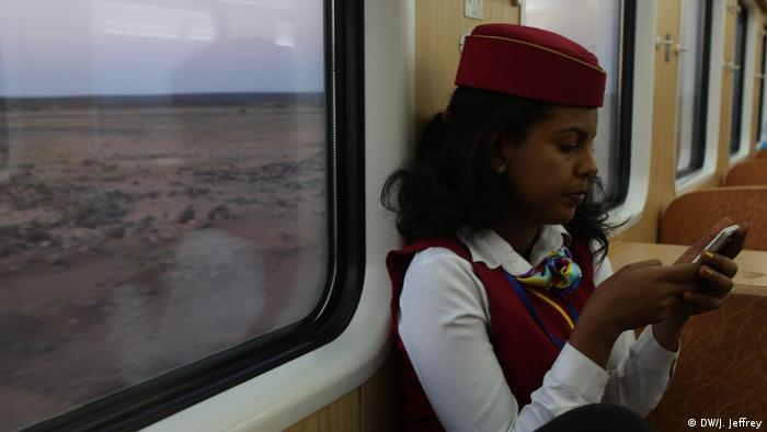 A ticket controller inside the Ethiopian Djibouti Railway Train(DW/J. Jeffrey)
