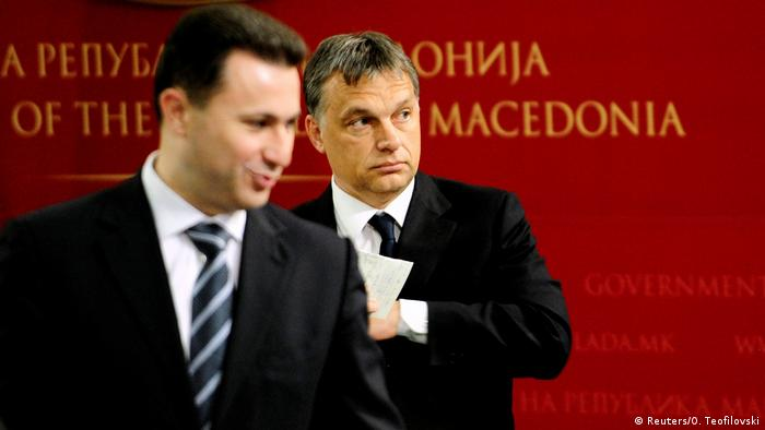 Macedonian Prime Minister Nikola Gruevski (L) stands in front of his Hungarian counterpart Viktor Orban during news conference in Skopje May 12, 2011 (Reuters/O. Teofilovski)