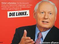 پوستر تبلیغات انتخباتی حزب چپ آلمان با تصویر اسکار لافونتن یکی از رهبران این حزب
