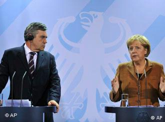 Prime Minister Gordon Brown on left and German Chancellor Angela Merkel on the right