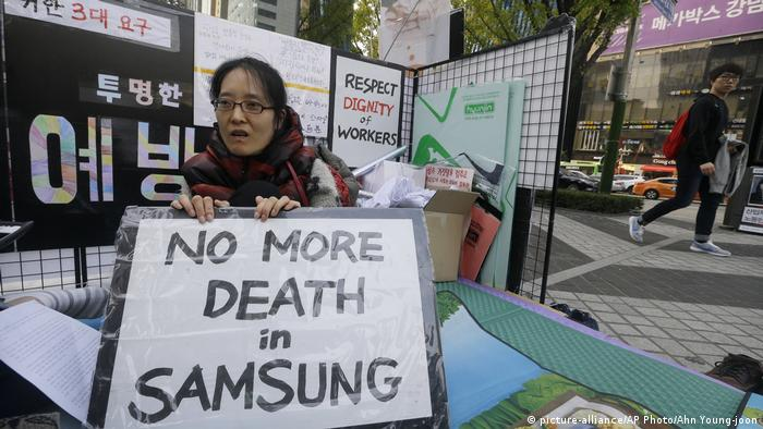 Former Samsung worker Han Hye-kyung, denounces the company (picture-alliance/AP Photo/Ahn Young-joon)