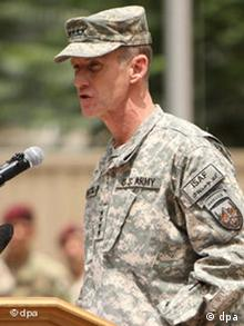 General McChrystal speaks while taking command in Afghanistan
