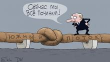 Karikatur Sergey Elkin -Thema: Wiederbelebung von South Stream.