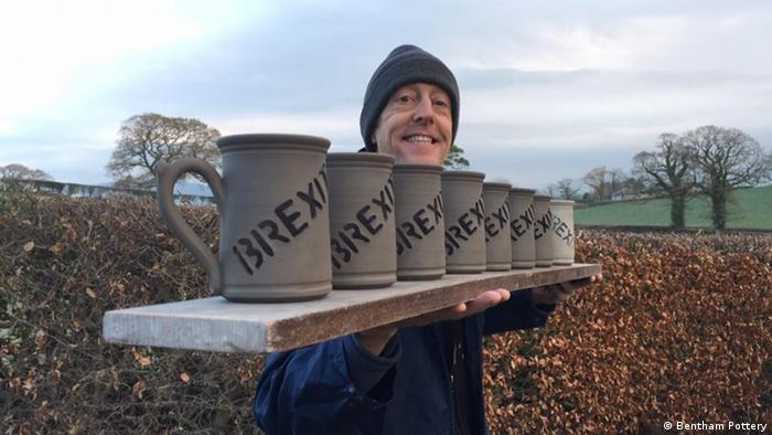 Lee Cartledge and a row of Brexit mugs