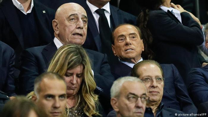 Serie C - Monza v Triest: Adriano Galliani und Silvio Berlusconi