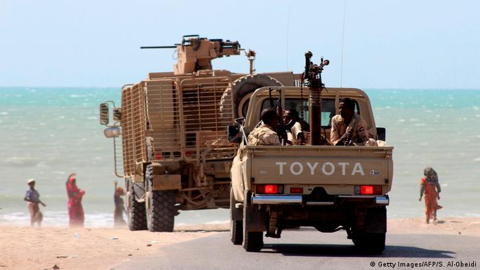 Yemeni pro-government forces are pictured on the eastern outskirts of Hodeida