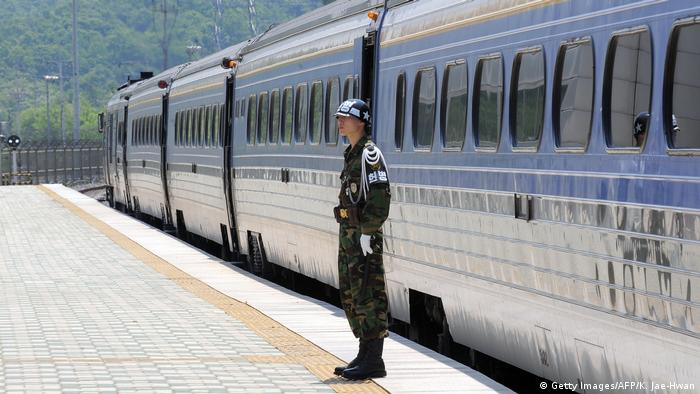 A South Korean soldier stands guard at the Dorasan railway station, the last South Korean station linked to a cross-border railway between Seoul and Pyongyang, near the Demilitarized zone dividing the two Koreas in Paju on May 26, 2009 (Getty Images/AFP/K. Jae-Hwan)