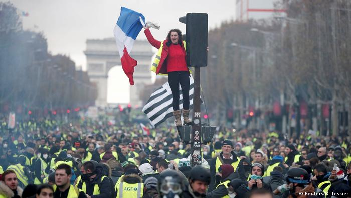 Protesters in central Paris opposing higher fuel prices