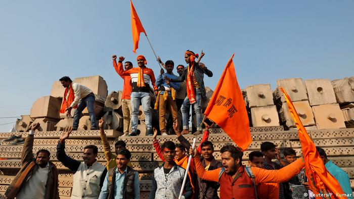 Hindus protesters in Ayodhya, India
