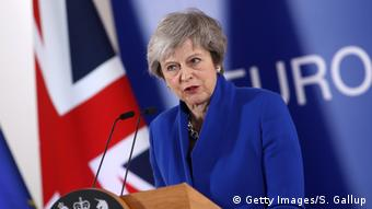 UK Prime Minister Theresa May at a special Brexit meeting in Brussels (Getty Images/S. Gallup)