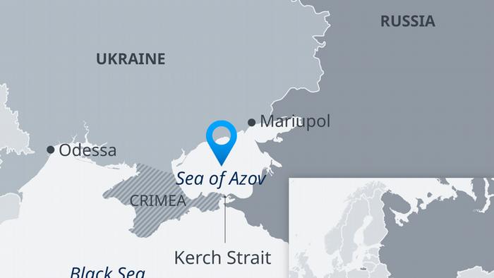 Karte Asowsches Meer Krim Ukraine Russland EN