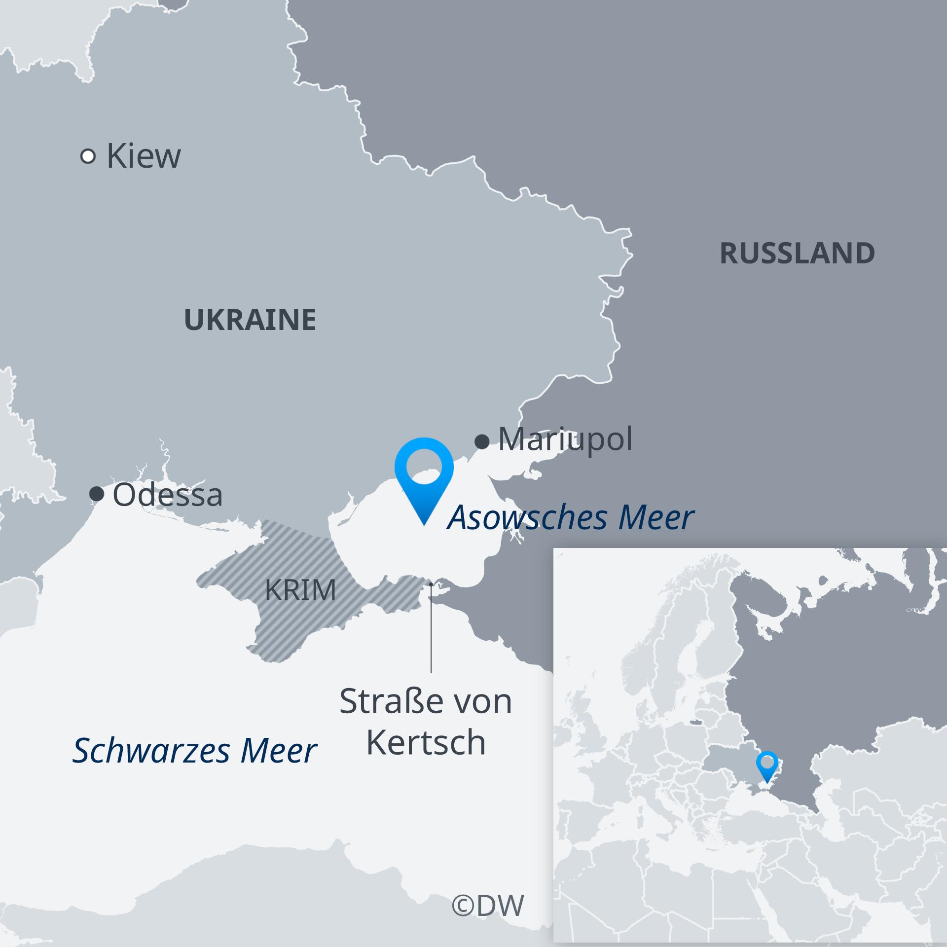 Karte Asowsches Meer Krim Ukraine Russland DE