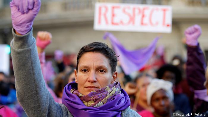 Em março de 2018, mulheres protestam na França contra a violência de gênero