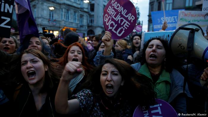 Women marching in Istanbul, Turkey on International Violence Against Women Day (Reuters/H. Alemir)